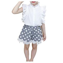 billige Tøjsæt til piger-Børn Pige Aktiv Prikker Krøllede Folder / Trykt mønster Uden ærmer Bomuld Tøjsæt