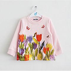 billige Babyoverdele-Baby Pige Blomstret Langærmet Bomuld / Polyester T-shirt Lyserød / Sødt