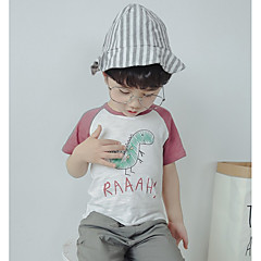 baratos Roupas de Meninos-Infantil Para Meninos Estampado Manga Curta Camiseta