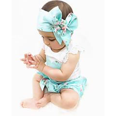 billige Babytøj-Baby Pige Aktiv / Basale Trykt mønster Uden ærmer Lang Bomuld Tøjsæt
