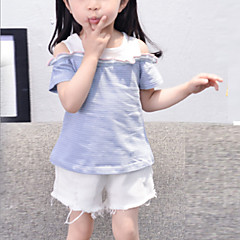 billige Pigetoppe-Baby Pige Basale / Gade Daglig Stribet Kortærmet Normal Bomuld / Polyester T-shirt Blå 100