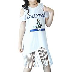 billige Pigetoppe-Børn Pige Aktiv / Basale Skole Blå & Hvid Trykt mønster Delt / Trykt mønster Kortærmet Lang Bomuld T-shirt