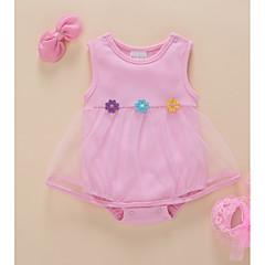 billige Babytøj-Baby Pige Aktiv Ferie Blomstret Net / Patchwork Uden ærmer Over knæet Bomuld Kjole / Sødt