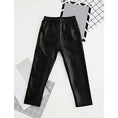 billige Bukser og leggings til piger-Pige Bukser Ensfarvet, PU Vinter Afslappet Sort