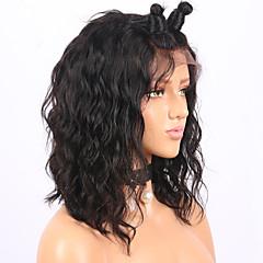 billiga Peruker och hårförlängning-Remy-hår Spetsfront Peruk Brasilianskt hår Vågigt Bob-frisyr 130% Densitet Med Babyhår / Naturlig hårlinje / Afro-amerikansk peruk Korta / Mellanlängd Dam Äkta peruker med hätta