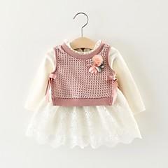 billige Babytøj-Baby Pige Farveblok Langærmet Kjole