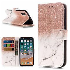 billige Telefoner og nettbrett-Etui Til Apple iPhone X / iPhone 8 Plus Lommebok / Kortholder / med stativ Heldekkende etui Marmor Hard PU Leather til iPhone X / iPhone 8 Plus / iPhone 8