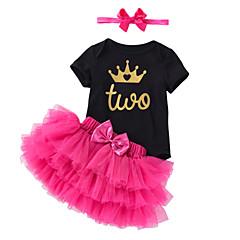 billige Sett med babyklær-Baby Pige Ensfarvet / Trykt mønster Kortærmet Tøjsæt