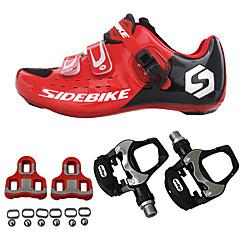 billige Sykkelsko-SIDEBIKE Voksne Sykkelsko med pedal og tåjern / Veisykkelsko Karbonfiber Demping Sykling Rød Herre