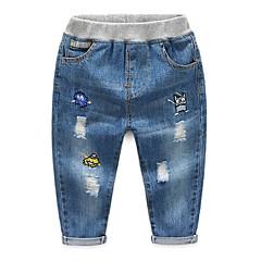 billige Jeans til drenge-Børn Drenge Aktiv Trykt mønster Broderi Bomuld Jeans