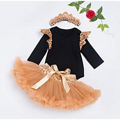 billige Babytøj-Baby Pige Patchwork Halvlange ærmer Tøjsæt