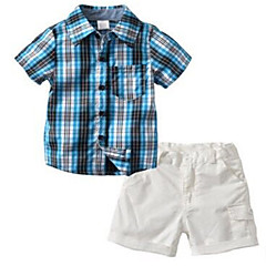 billige Tøjsæt til drenge-Baby Drenge Ferie Ternet Kortærmet Bomuld Tøjsæt