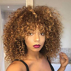 cheap Wigs & Hair Pieces-Synthetic Wig Women's Kinky Curly Blonde Synthetic Hair Highlighted / Balayage Hair Blonde Wig Medium Length Capless Blonde