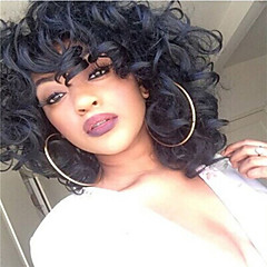 cheap Wigs & Hair Pieces-middle length curly hair european weave black color synthetic wig