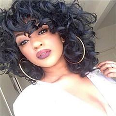 billiga Peruker och hårförlängning-Syntetiska peruker Curly Weave / Europeisk Syntetiskt hår Afro-amerikansk peruk Natur Svart Peruk Dam Mellan Utan lock