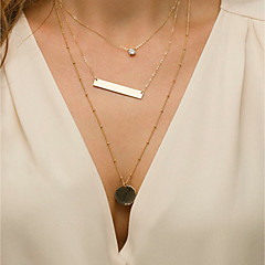 ieftine Lănțișoare-Pentru femei Cristal Coliere Choker / Coliere cu Pandativ / Lănțișoare - Simplu, Vintage, Modă Auriu 40 cm Coliere 3pcs Pentru Concediu, Măr / Coliere Layered