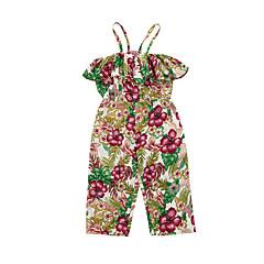 billige Bukser og leggings til piger-Børn Pige Blomstret Uden ærmer Overall og jumpsuit