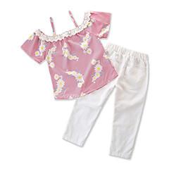 baratos Roupas de Meninas-Bébé Para Meninas Flamingos Listrado Sem Manga Conjunto