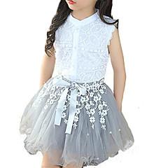 billige Tøjsæt til piger-Pige Tøjsæt Daglig Patchwork, Rayon Polyester Sommer Uden ærmer Blonde Hvid