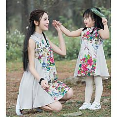 billige Sett med familieklær-Mamma og meg Grunnleggende Daglig Blomstret Ermeløs Polyester Kjole Beige Jenter 110