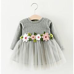 billige Babytøj-Baby Pige Aktiv Geometrisk Langærmet Bomuld Kjole Hvid