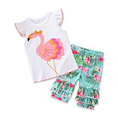 voordelige Babykledingsets-Baby Meisjes Flamingos Print Korte mouw Kledingset