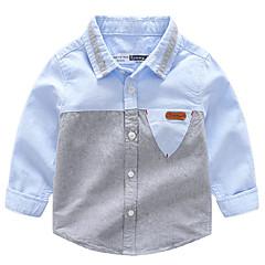 billige Overdele til drenge-Børn Drenge Basale Patchwork Patchwork Langærmet Bomuld Skjorte