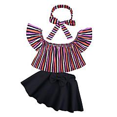 billige Tøjsæt til piger-Baby Pige Gade Daglig / I-byen-tøj Stribet Pailletter Kortærmet Kort Normal Bomuld / Polyester Tøjsæt Sort