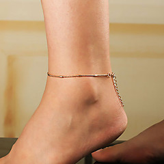 baratos Bijoux de Corps-Link cubano tornozeleira - Pêra Simples, Coreano Dourado / Prata Para Presente Rua Feriado Mulheres