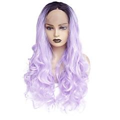 billiga Peruker och hårförlängning-Syntetiska snörning framifrån Rak Middle Part Syntetiskt hår Värmetåligt / Dam / Färggradient Lila Peruk Dam Lång Spetsfront