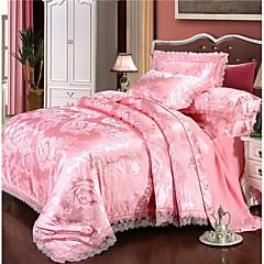 billige Hjemmetekstiler-dynetrekk sett luksus polyster jacquard 4 stk sengetøy sett / 300 / 4pcs (1 dyne deksel, 1 flat ark, 2 shams) king