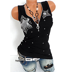 Women's Punk & Gothic T-shirt - Solid Colored Sequins