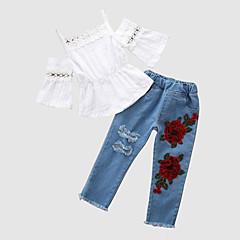 billige Babytøj-Baby Pige Blomstret / Patchwork Halvlange ærmer Tøjsæt