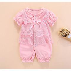 billige Babytøj-Baby Pige Aktiv / Basale Ensfarvet Blondér Kort Ærme Bomuld En del