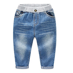 billige Jeans til drenge-Børn Drenge Basale Ensfarvet Bomuld Jeans