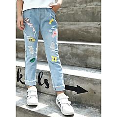 billige Jeans til piger-Børn Pige Aktiv / Gade Ferie Trykt mønster Kvast / Hul / Trykt mønster Bomuld Jeans