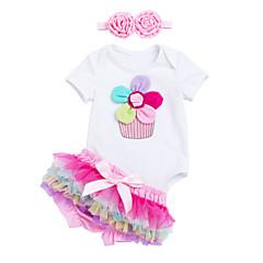 billige Sett med babyklær-Baby Pige Jacquard Vævning Kortærmet Tøjsæt