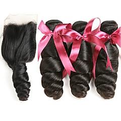 billiga Hårförlängningar av äkta hår-3 paket med stängning Malaysiskt hår Vågigt 8A Äkta hår Human Hår vävar Hårförlängningar av äkta hår Hår Inslag med Stängning 8-22 tum Naurlig färg Hårförlängning av äkta hår 4x4 Stängning Bästa