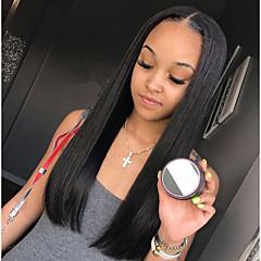 billiga Peruker och hårförlängning-Remy-hår Spetsfront Peruk Brasilianskt hår Rak Middle Part 130% Densitet Naturlig hårlinje / Med blekta knutar Lång Dam Äkta peruker med