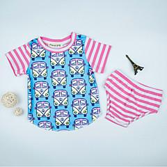 billige Sett med babyklær-Baby Unisex Aktiv Farveblok Kortærmet Bomuld Tøjsæt