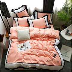 billige Hjemmetekstiler-dyne deksel sett solid farget / moderne polyster trykt 4 stk sengetøy sett / 300 / 4pcs (1 dyne deksel, 1 flat ark, 2 shams) konge