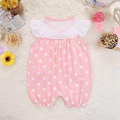 billige Babytøj-Baby Pige Basale Ensfarvet / Prikker Patchwork Kort Ærme Bomuld En del