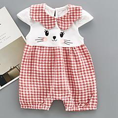 billige Babytøj-Baby Pige Basale Ternet / Patchwork Kort Ærme Bomuld En del