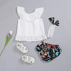billige Sett med babyklær-Baby Pige Ensfarvet / Blomstret Uden ærmer Tøjsæt
