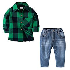 billige Tøjsæt til drenge-Børn Drenge Vintage / Aktiv Daglig / Skole Houndstooth mønster Hul Langærmet Normal Normal Bomuld / Polyester Tøjsæt Grøn 110