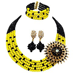 baratos Conjuntos de Bijuteria-Mulheres Camadas Conjunto de jóias - Cristal Austríaco MOON Fashion Incluir Strands Necklace Verde / Rosa / Champanhe Para Festa