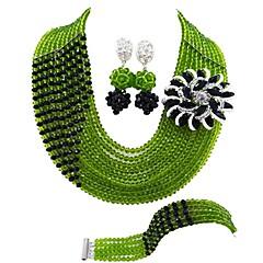 baratos Conjuntos de Bijuteria-Mulheres Camadas Conjunto de jóias - Cristal Austríaco MOON Fashion Incluir Strands Necklace Verde / Rosa / Champanhe Para Casamento