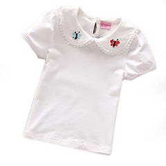 tanie Odzież dla dziewczynek-Brzdąc Dla dziewczynek Podstawowy Jendolity kolor / Kwiaty Krótki rękaw T-shirt