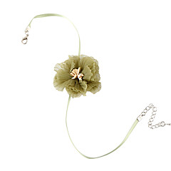 billige Halsbånd-Dame Stilfuldt Kort halskæde - Blonde Blomst Sød, Mode, Elegant Lys Grøn 38 cm Halskæder Smykker 1pc Til Afslappet, Daglig