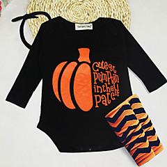 billige Babytøj-Baby Pige Afslappet / Aktiv Ferie Trykt mønster Trykt mønster Kortærmet Tøjsæt